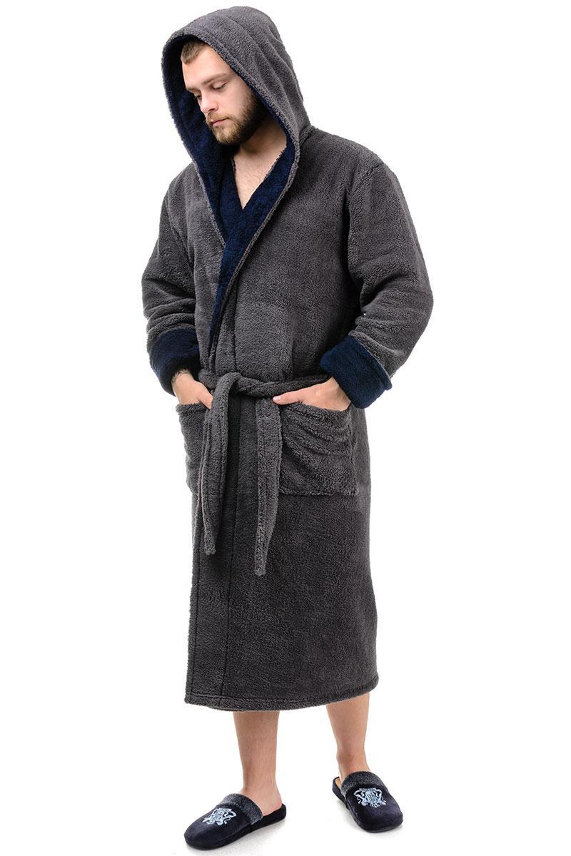 Мужской халат (темно-серый с синим)