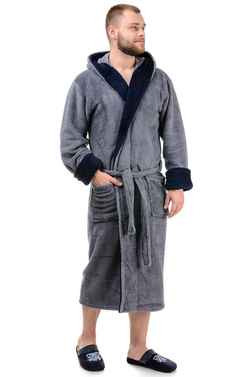 Мужской халат велсофт (серый с синим)