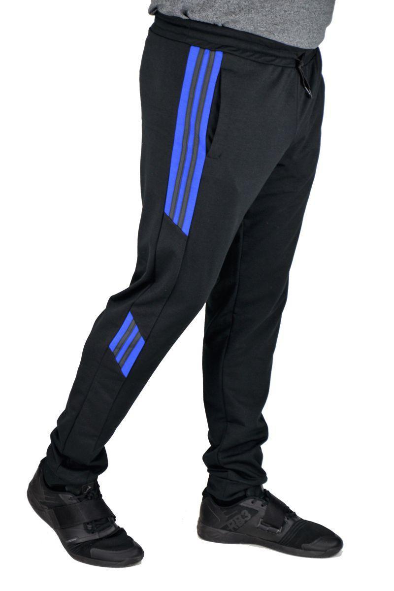 Спортивные брюки мужские NEW SPORT (черные с вставкой электрик)