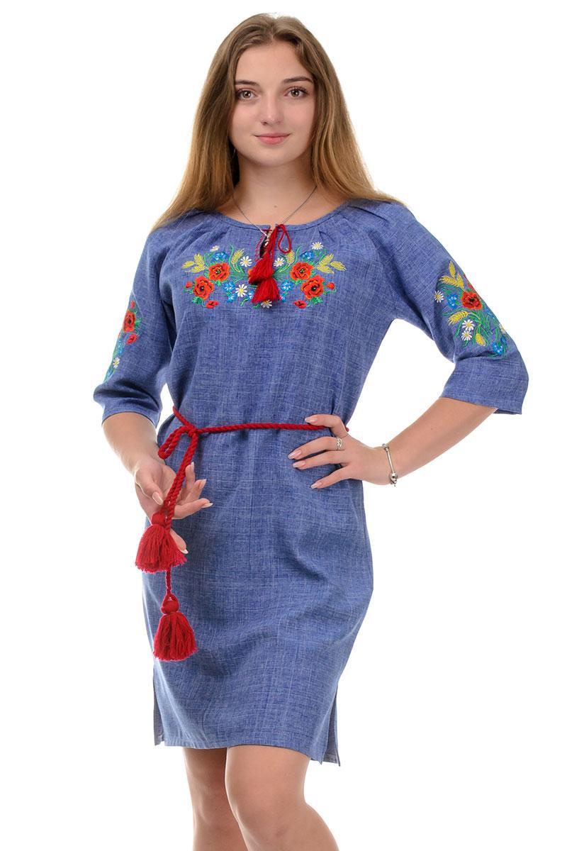 Платье-вышиванка Маки (джинс)