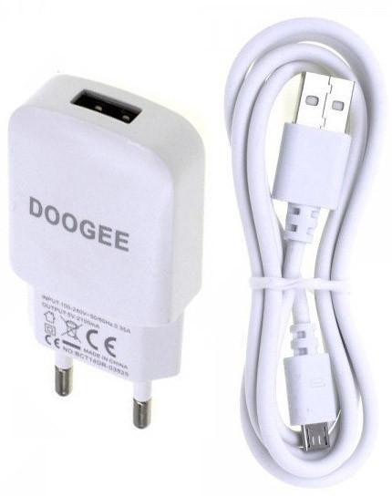 Зарядное устройство Doogee 2in1+ кабель 2.0A Белый