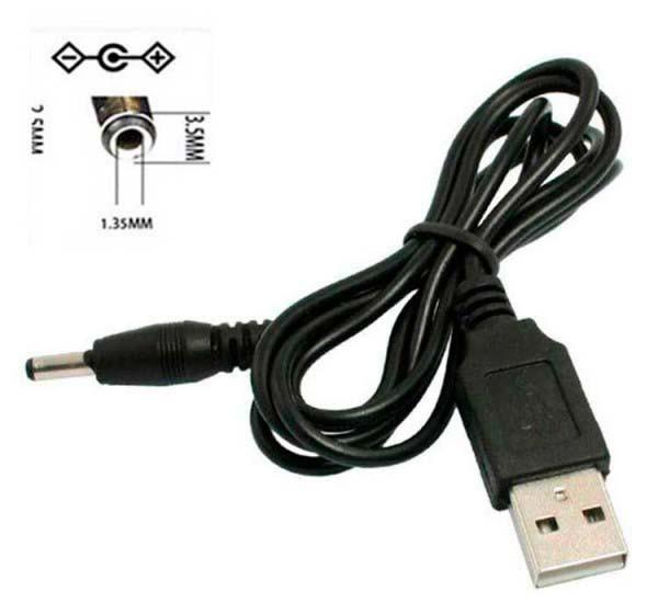 Шнур питания от USB на 3.5x1.35 для фонариков и колонок 1m Черный