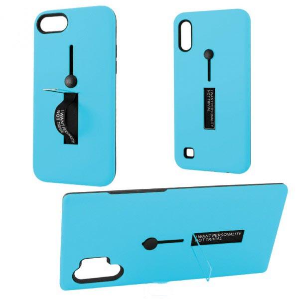 Чехол противоударный Metal Kickstand Soft Touch с держателем Apple iPhone 6, 6S Голубой