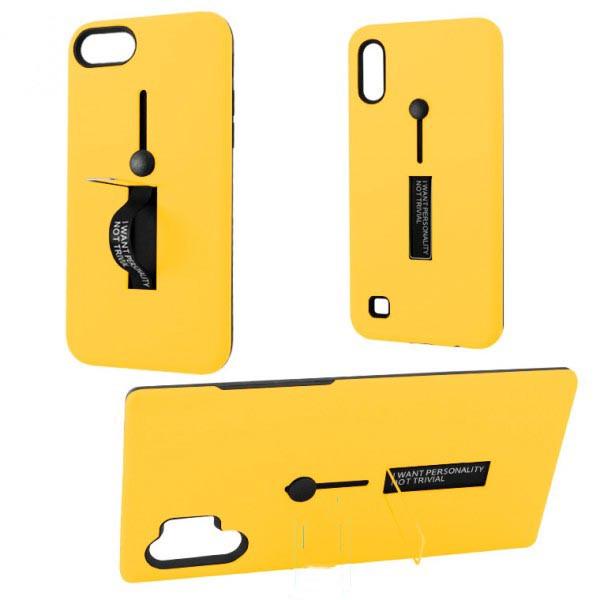 Чехол противоударный Metal Kickstand Soft Touch с держателем Apple iPhone 6, 6S Желтый
