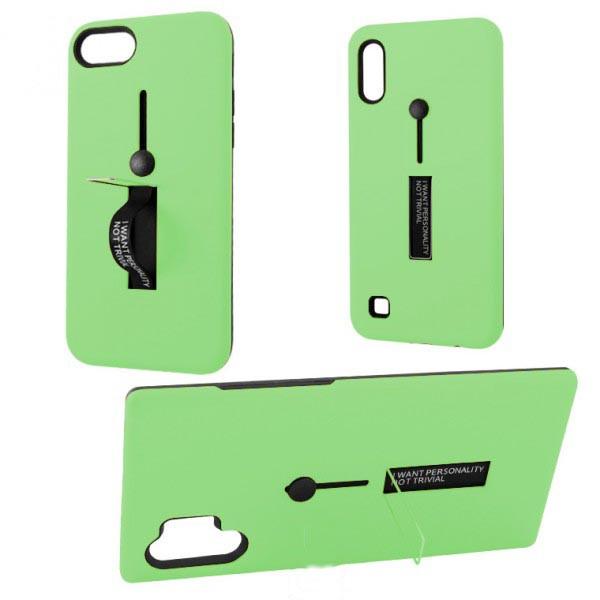 Чехол противоударный Metal Kickstand Soft Touch с держателем Apple iPhone 6, 6S Зеленый