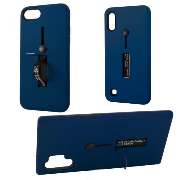 Чехол противоударный Metal Kickstand Soft Touch с держателем Apple iPhone 7, 8 тёмно-Синий