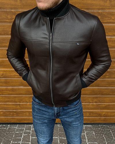Мужская куртка эко-кожа, Бомбер - Dred - КОРИЧНЕВЫЙ