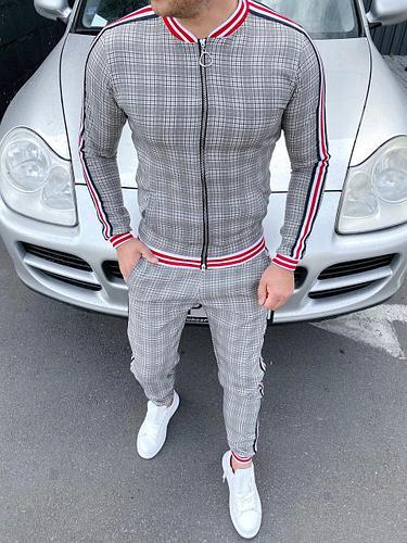 Мужской Спортивный костюм в клетку серый. (из к/ф Джентельмены