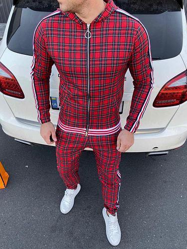 Мужской Спортивный костюм в клетку, красный (из к/ф Джентельмены)