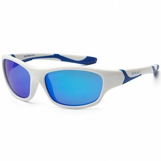 Дитячі сонцезахисні окуляри Koolsun біло-блакитні серії Sport (Розмір: 6+)