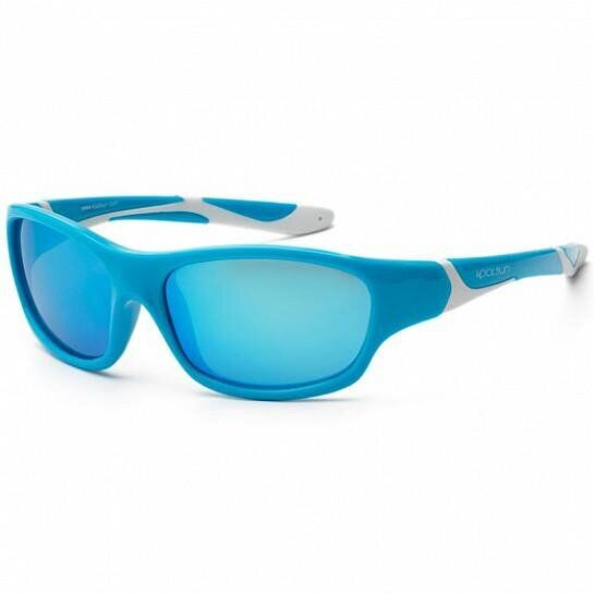 Дитячі сонцезахисні окуляри Koolsun бірюзово-білі серії Sport (Розмір: 6+)