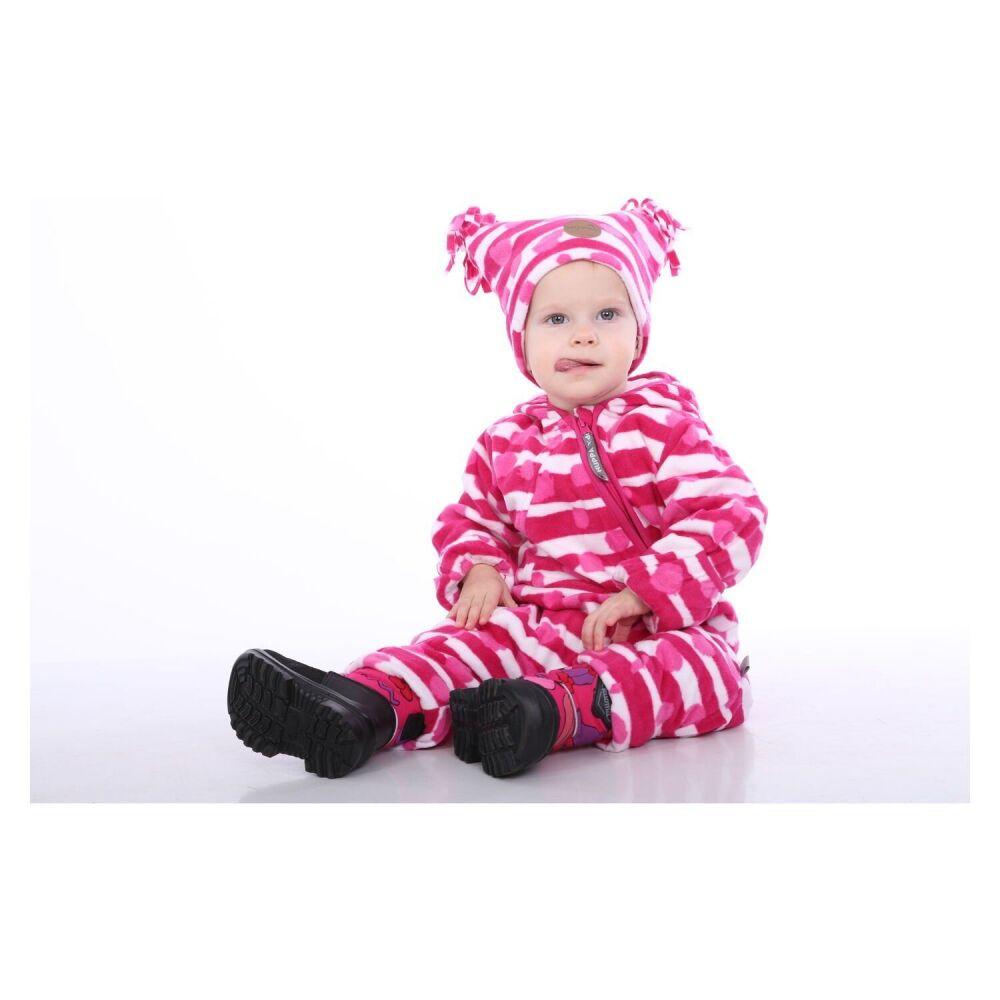 Флисовый комбинесон для малышей DANDY, фуксиа с принтом 63363, размер 86
