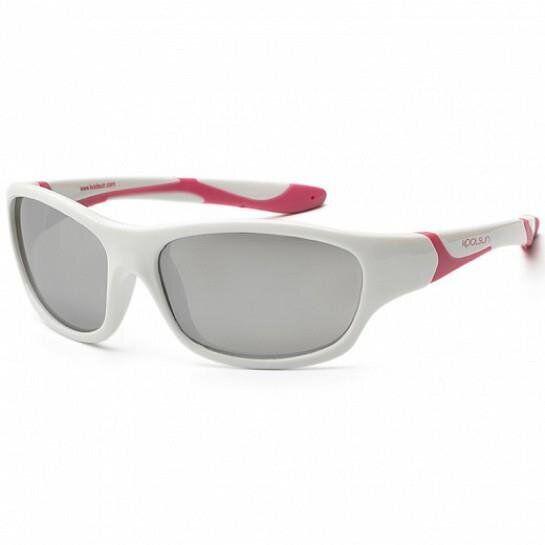 Дитячі сонцезахисні окуляри Koolsun біло-рожеві серії Sport (Розмір: 6+)