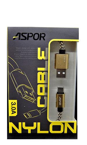 USB кабель Aspor - A162 Type-C 3A/ 0,3м - золотий