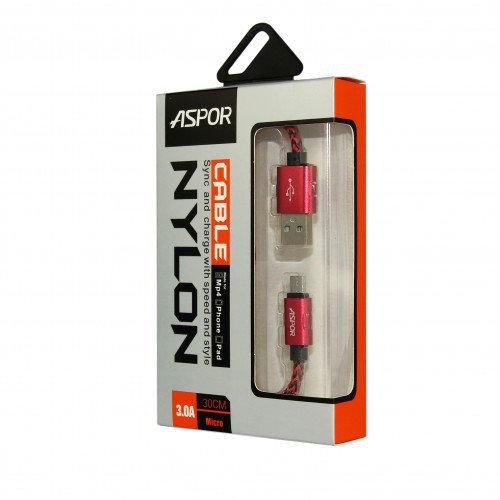 USB кабель Aspor - A162 Type-C 3A/ 0,3м - красный
