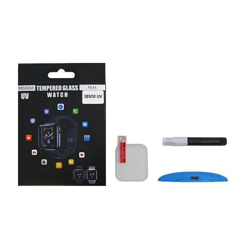 Защитное стекло UV для APPLE Watch 38mm Series 1 (0.2 мм, 3D, прозрачное) в комплекте с UV клеем и лампой