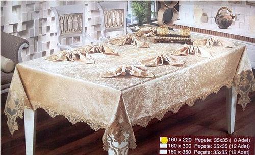 Скатерть с салфетками Haspen Menekse 160-220 см велюр кремовая