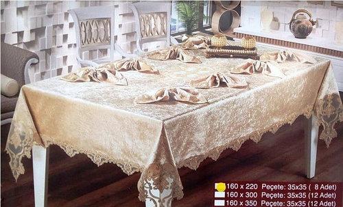 Скатерть с салфетками Haspen Menekse 160-350 см велюр кремовая