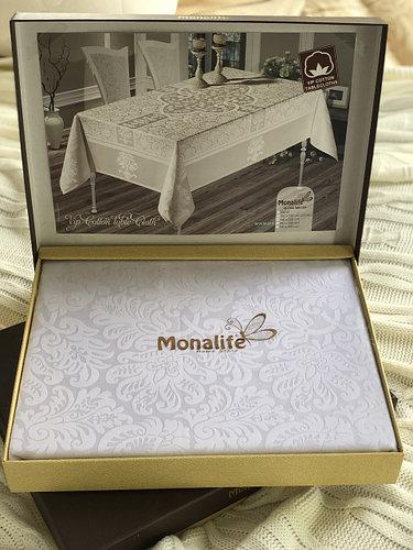 Скатерть Monalife Beyaz 160-220 см полиэстер белая