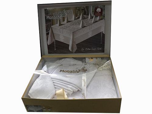 Скатерть c салфетками Monalife Beyaz 160-220 см полиэстер белая