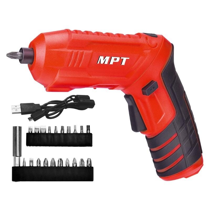 Аккумуляторная отвертка MPT поворотная + насадки 20 шт (MCSD4006.2)