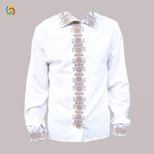Вышиванка мужская, машинная вышивка крестиком. Домотканое полотно, габардин или лен