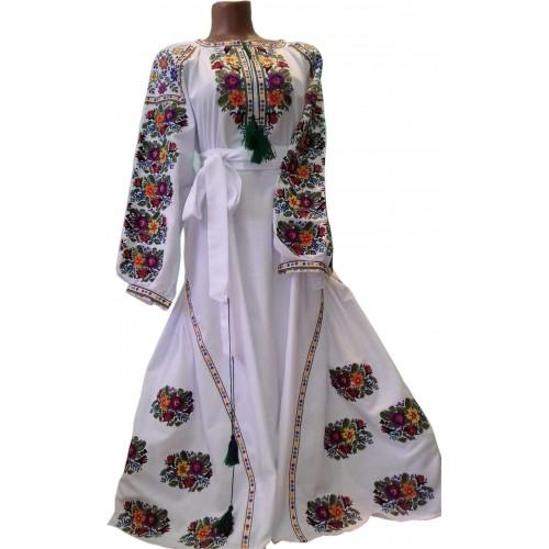Платье вышитое женское, машинная вышивка, крестиком. Домотканое полотно или габардин