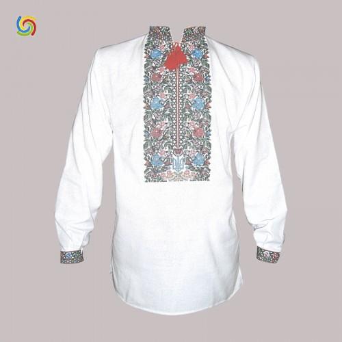 Вышиванка мужская с тризубом, машинная вышивка, крестиком. Домотканое полотно, лен или габардин