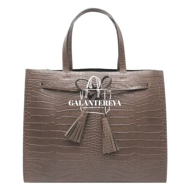Женская кожаная сумка Italian fabric bags 2577 gray