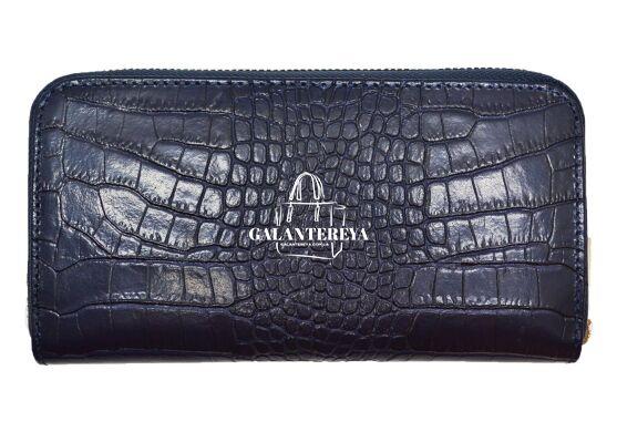 Кошелек женский кожаный Italian fabric bags 2451 dark blue