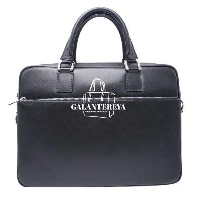 Мужская кожаная сумка Italian fabric bags 1003 Blakc