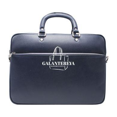 Мужская кожаная сумка Italian fabric bags 1003 blue