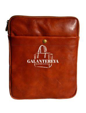 Мужская кожаная сумка-планшет Italian fabric bags 2043 cognac