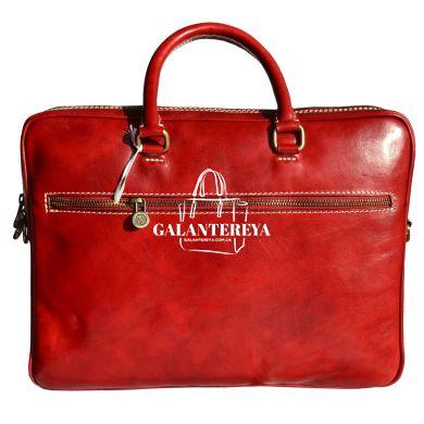 Мужская кожаная сумка-портфель Italian fabric bags 1778 red