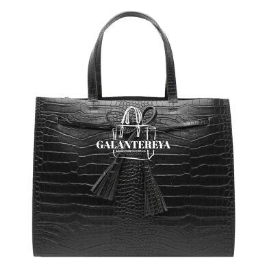 Женская кожаная сумка Italian fabric bags 2577 black