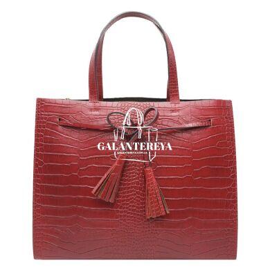 Женская кожаная сумка Italian fabric bags 2577 bordeaux