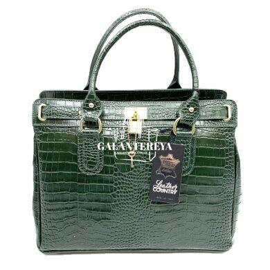 Женская кожаная сумка Italian fabric bags 2587 dark_green