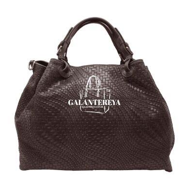 Женская кожаная сумка Italian fabric bags 2596 chocolate