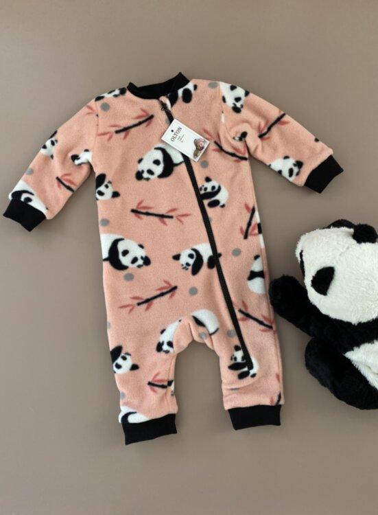 Человечек с пандами флисовый на подкладке от 6 до 18 месяцев