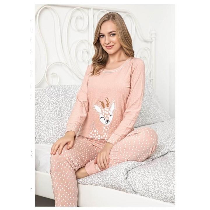 Женская пижама персиковая с длинным рукавом и штанами принт олененок. TM Seyko