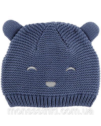 Детская вязаная шапочка для мальчика 0-3, 3-9, 12-24 месяца