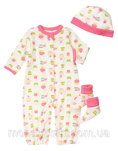 Трикотажный комплект для новорожденной девочки 3-6, 6-9 месяцев