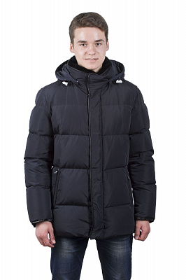Мужской пуховик Snow Image 51698 (черный, синий)