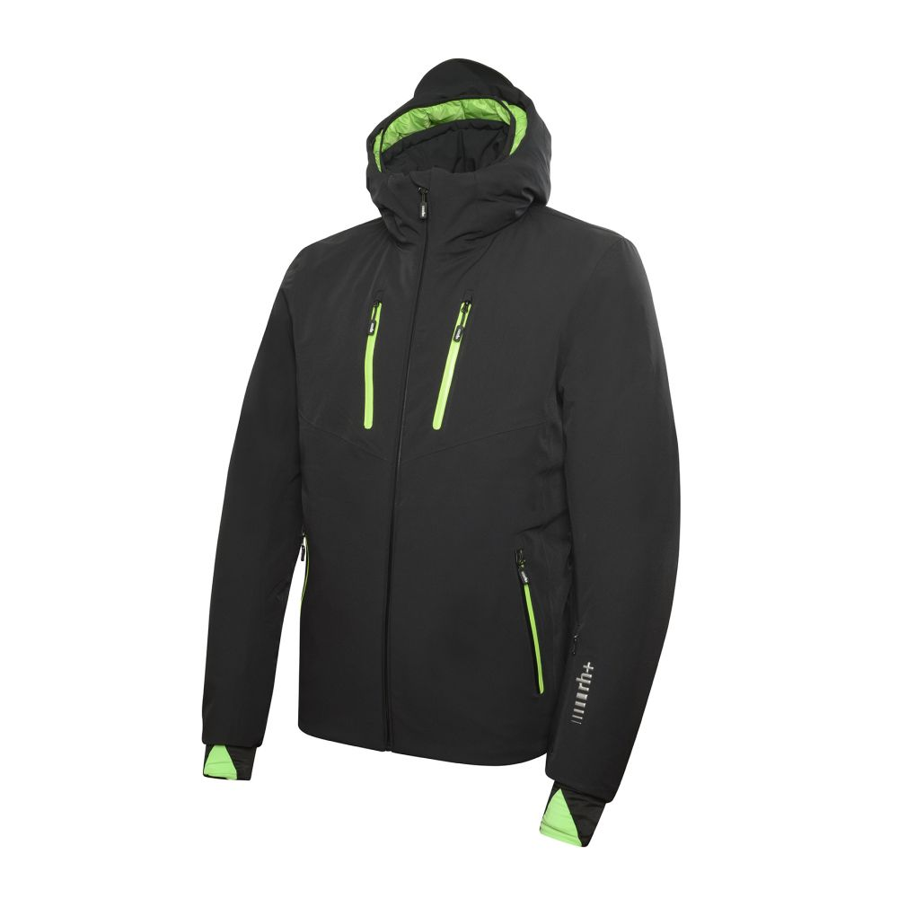 powder jacket black - flash green
