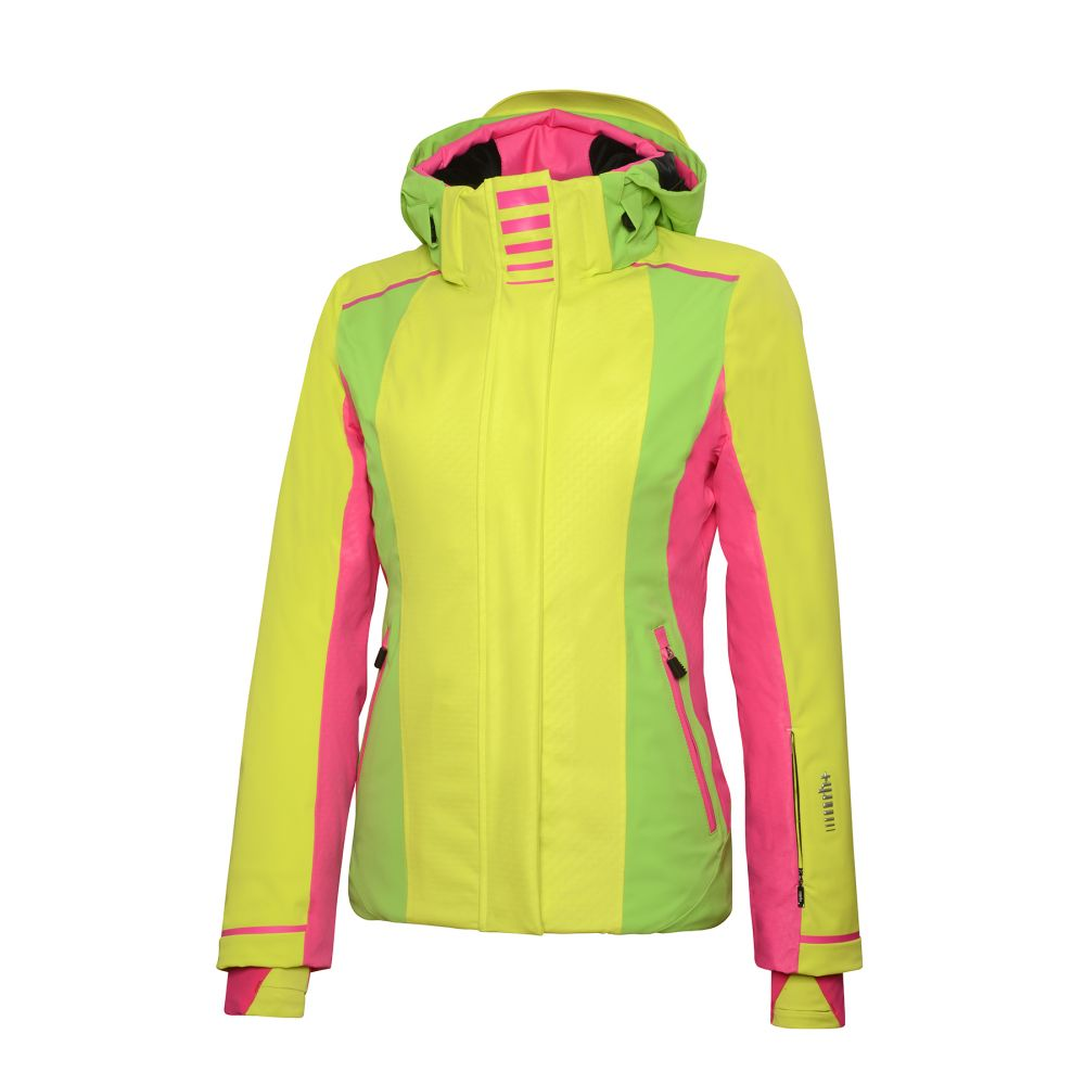 zero w jacket acid green - flash green - pop pink