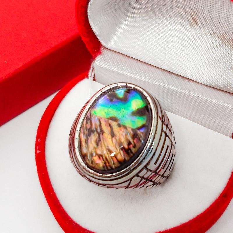 Кольцо Перстень Дионис с Галиотисом сталь 19 р. (натуральный камень) (6836)