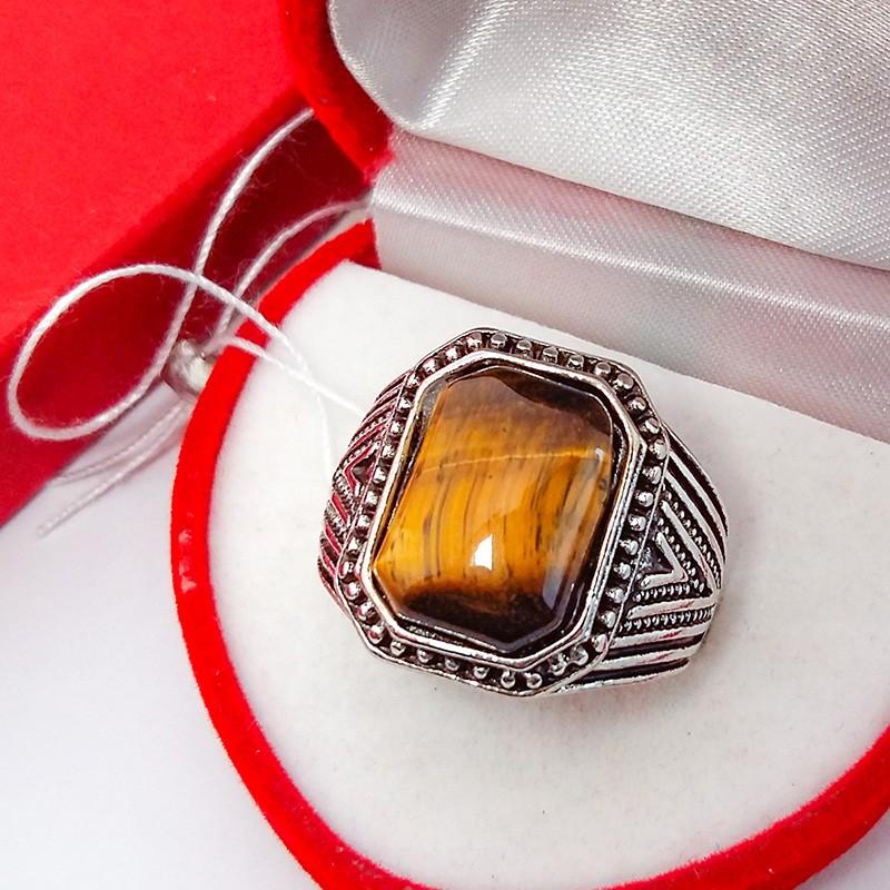 Кольцо Перстень Тигровый Глаз 19 р. (натуральный камень) (6834)