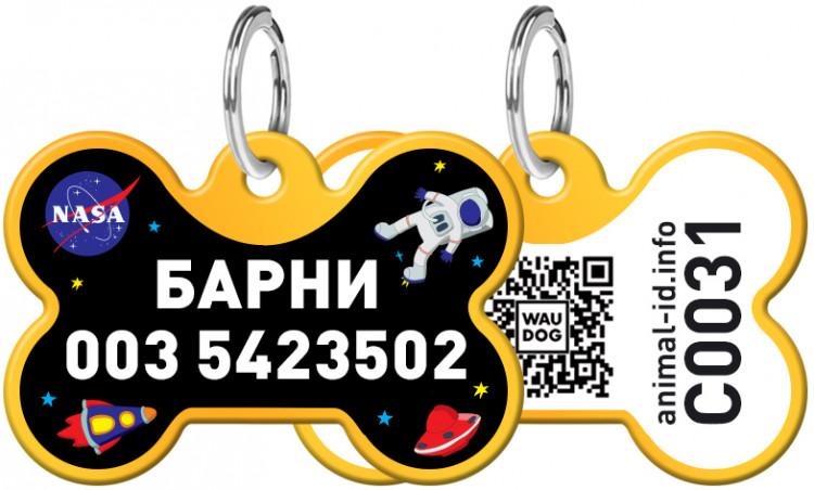 """Адресник WAUDOG Smart ID с рисунком """"NASA"""" 30x20 мм Золотой Золотой (0631-0047-17)"""