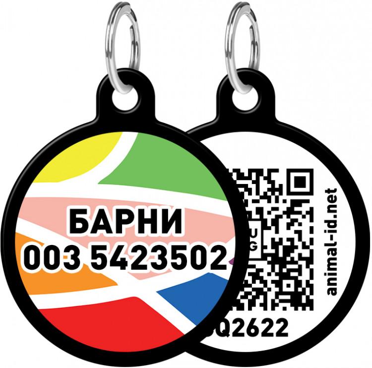 """Адресник WAUDOG Smart ID с рисунком """"Витраж"""" 30 мм Черный Черный (0630-0051-01)"""