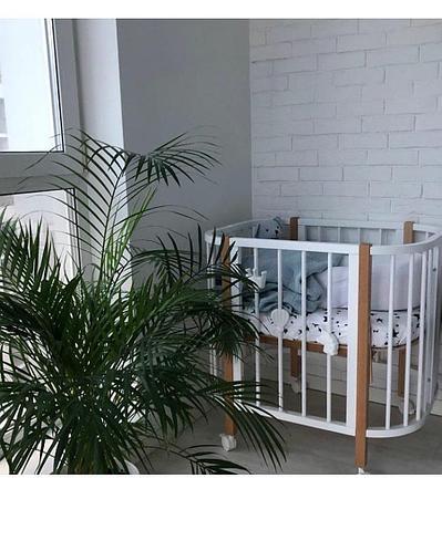 Супер модная кроватка-трансформер от 0 до 10 лет Белая+бук